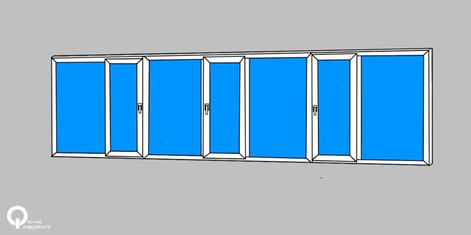 лоджия 6,2 метра 3 створки